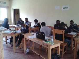 Bible students completing a group activity