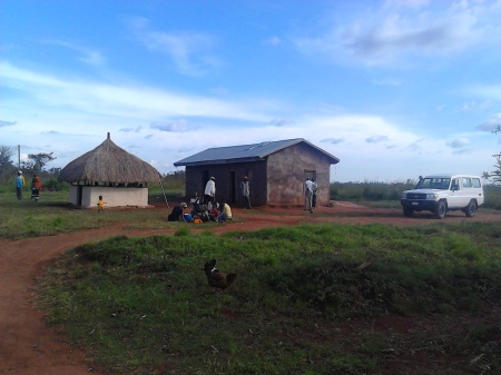 Existing medical clinic and reception hut.